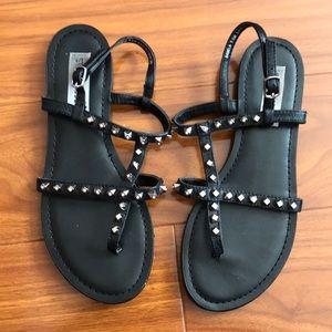 Steve Madden Sabela Black Diamond Studded Sandals